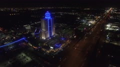 Nighttime Aerial View of Memorial City Mall in Houston Stock Footage