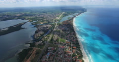 Drone is flying at tropical island in the Atlantic Ocean. Bird's-eye view to Stock Footage