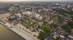 Aerial view church of wat sothorn temple important religion landmark in thail Stock Photos