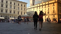 ULTRA HD 4K Famous Republic Square in Florence Stock Footage