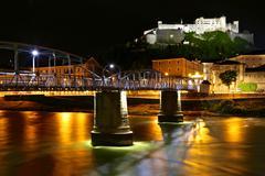 Salzburg Austria Sight and the night lights Stock Photos