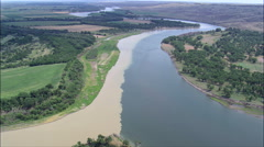 Confluence Of The Missouri And Milk Rivers Stock Footage