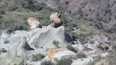 Rock Formations In Makoshika State Park Stock Footage