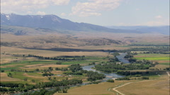 Yellowstone River With Mountains On Either Side Stock Footage
