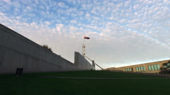Australian Parliament House Canberra, Minsterial Wing track with big sky Stock Footage