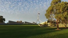 Ministerial wing of Australian Parliament House in Canberra Stock Footage