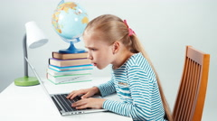 Portrait child shocked by the information from the Internet Stock Footage