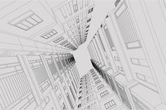 High building structure architecture abstract drawing, 3d illustration Stock Illustration