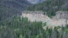 Vehicles On East Route Into Yellowstone Park Stock Footage