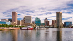 Baltimore, Maryland Skyline Time Lapse Stock Footage