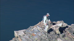 Climber Overlooking Ross Lake Stock Footage