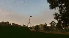 4k Tracking shot of Australian Parliament House at Dusk Stock Footage