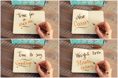Photo collage of handwritten motivational messages Stock Photos