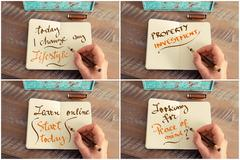 Photo collage of handwritten motivational messages - stock photo