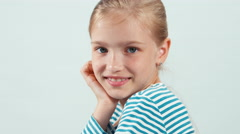 Close up portrait girl looking at camera with smile isolated on white Stock Footage