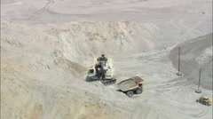 Crane And Truck Working In Mine Stock Footage