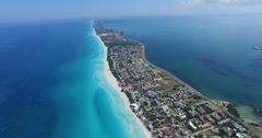 Drone is flying above tropical island in the Atlantic Ocean. Bird's-eye view to Stock Footage