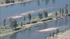 Islands In The Flathead River Stock Footage