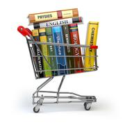 Shopping cart with books isolated on white. Textbooks. Back to school. Piirros