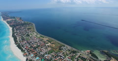 Drone flies at tropical island in the Atlantic Ocean. Bird's-eye view to main Stock Footage