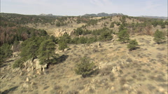 Standing Stones On Hill Top In Curt Gowdy State Park Stock Footage