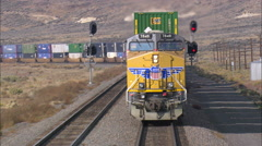 Freight Train With Two Tier Container Trucks Stock Footage