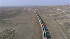 Two Long Freight Trains Passing Stock Footage