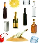 Alcohol drink in bottle, vector icons set Piirros