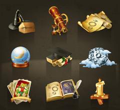 Astrology, set of vector icons dark Stock Illustration