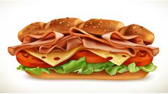 Big sandwich with meat and cheese, vector icon Stock Illustration