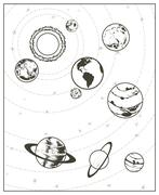 Black drawing, solar system vector Piirros