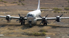 Old Aircraft At South Big Horn County Airfiled Stock Footage