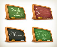 Chalkboards, school sport menu vector set Stock Illustration