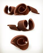 Chocolate shavings, chocolates curl, sweet food, vector icon set isolated on  Stock Illustration