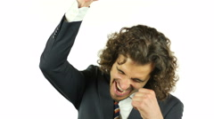 Exulting Businessman gets excited and finally wins Stock Footage