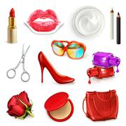 Red ladies handbag with cosmetics, accessories, sunglasses and high-heel shoe Stock Illustration