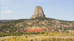 Flight Rising Right Around The Devil's Tower Stock Footage