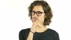 Young man Entrepreneur thinking over business matters  Stock Footage