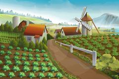 Farm rural landscape, vector background Stock Illustration