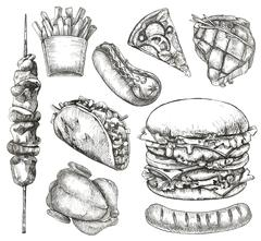Fast food, sketches, hand drawing, vector set Stock Illustration
