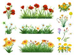 Flowers and grass set of vector elements. Nature and ecology Stock Illustration