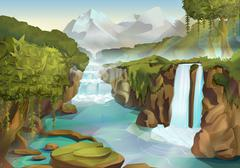 Forest and waterfall, nature landscape vector background Stock Illustration