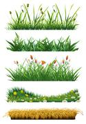Grass set of vector elements. Fresh grass. Nature and ecology Stock Illustration