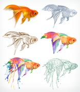 Goldfish, different styles, vector drawing, icon set Stock Illustration