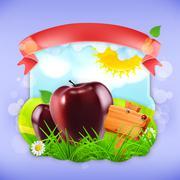 Juicy apples, vector label design Stock Illustration