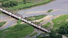 Two Bridges Across North Platte River Stock Footage
