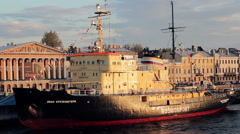 "Icebreaker ""Ivan Kruzenshtern"" Moored In St Petersburg, Neva River Stock Footage"