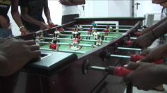 Wide shoot of table soccer/football with hands of players Stock Footage