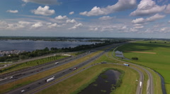 Highway in Holland, aerial shot Stock Footage
