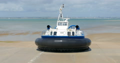 Hovercraft boat arriving on the beach Stock Footage